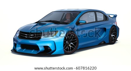 3D rendering of a brand-less generic concept car in studio environment. - No trademark issues as the car is my own design. The car does not exist in real life.