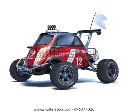 3D rendering of a brand-less generic concept car in studio environment. Small concept ATV
