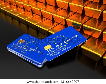3D rendering of a bundle of EU credit or debit cards near gold bars that are stacked on top of one another with flag of European Union on dark background