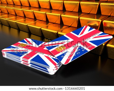 3D rendering of a bundle of UK credit or debit cards near gold bars that are stacked on top of one another with flag of United Kingdom on the dark background