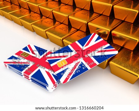 3D rendering of a bundle of UK credit or debit cards near gold bars that are stacked on top of one another with flag of United Kingdom on the white background