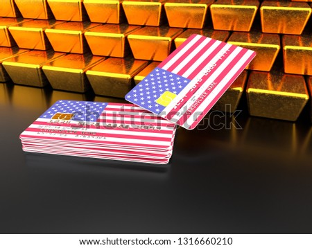 3D rendering of a bundle of USA credit or debit cards near gold bars that are stacked on top of one another with flag of United States of America on dark background