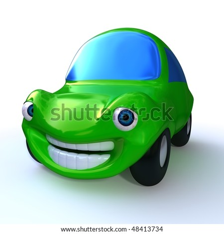 3d rendering of a cartoon character of a green happy car isolated on white background