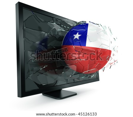 3d rendering of a Chilean soccerball breaking through monitor