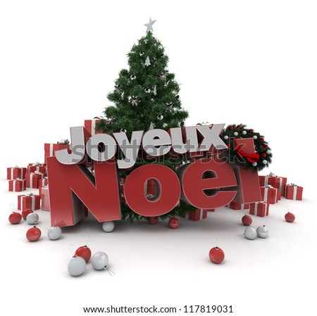 ... Christmas d���©cor, with the words happy Christmas in French