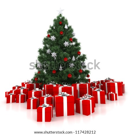 3D rendering of a Christmas tree surrounded by presents