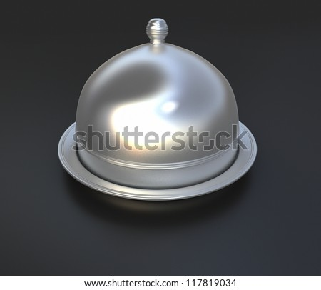 3D rendering of a chrome cloche lid