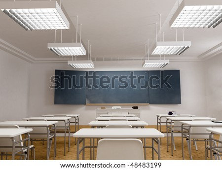3D rendering of a classical school classroom - stock photo