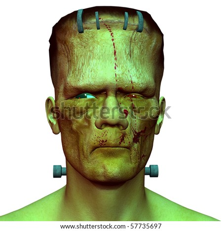 3D rendering of a close up of a monster head