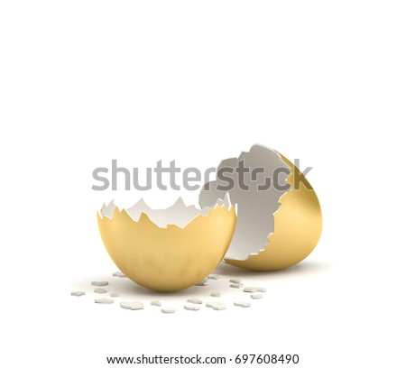 3d rendering of a cracked golden egg with its two pieces lying beside each other on white background. Moneymaker. Profitable venture. Cash cow and golden goose.