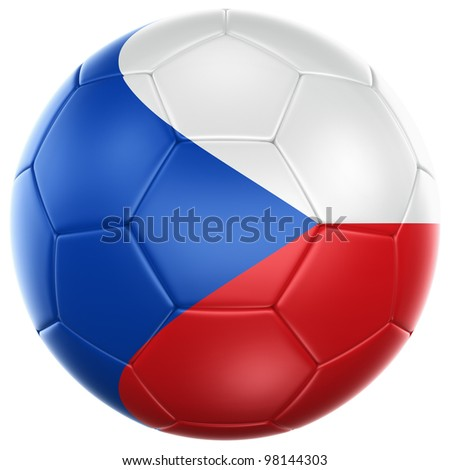 3d rendering of a Czech soccer ball isolated on a white background - stock photo