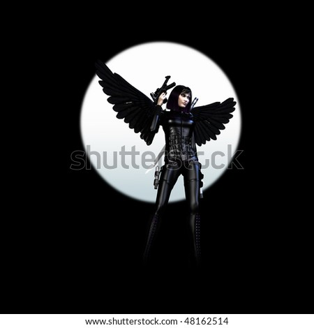 3D rendering of a dark girl with wings, rifle and gun