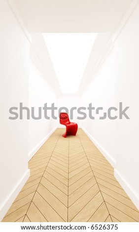 3D rendering of a designer red plastic chair in a corridor with a dead end