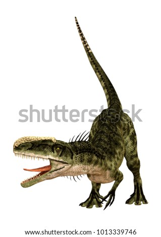 3D rendering of a dinosaur Monolophosaurus isolated on white background #1013339746