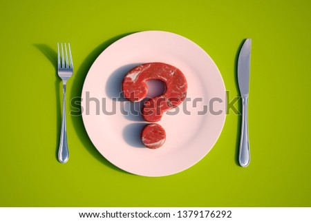 3D rendering of a dish with raw meat in the shape of a question mark  ストックフォト ©