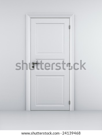 3d rendering of a door in a white room