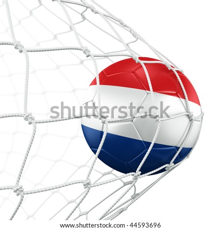 3d rendering of a Dutch soccer ball in a net