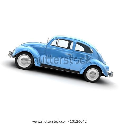 3D rendering of a European vintage car in shinny blue