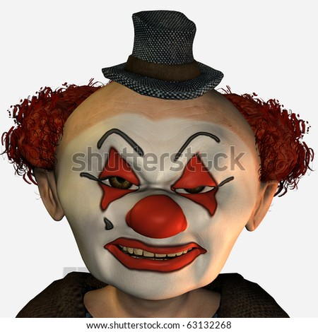 3D Rendering of a Evil clown