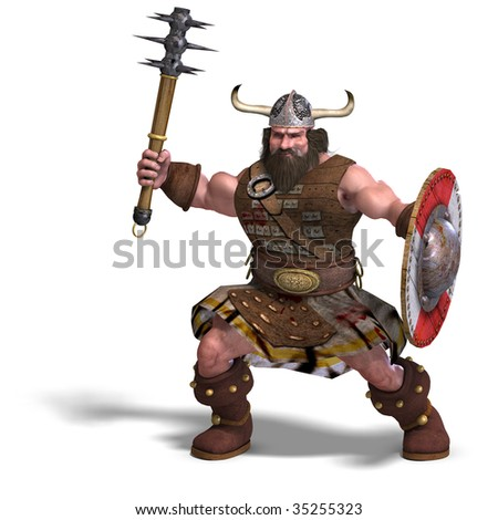 3D rendering of a fantasy dwarf with spike club and shield with clipping path and shadow over white