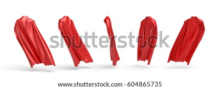 3d rendering of a five types of view of a cape made from a red satin clothes isolated on white background. 3d modelling. Art object. Design element