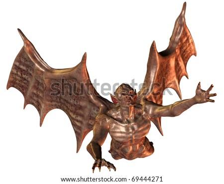 3D rendering of a flying demon