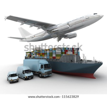 3D rendering of a flying plane, a truck, a lorry, and a freight ship