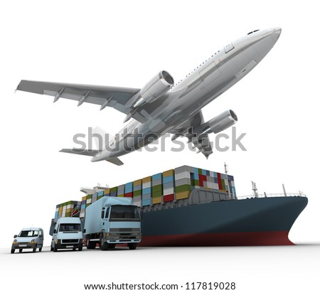 3D rendering of a flying plane a truck a lorry and a freight ship