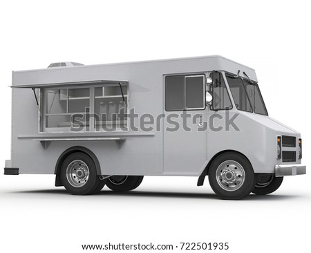 3d Rendering of a food truck on white background