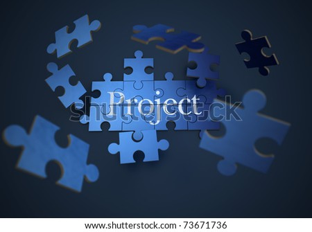 3D rendering of a forming puzzle with the word Project - stock photo