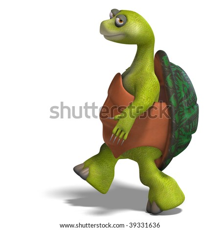 3D rendering of a funny toon turtle enjoys life with clipping path and shadow over white - stock photo