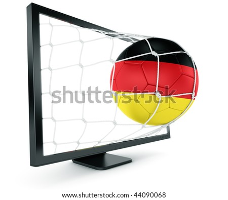 3d rendering of a German soccer ball coming out of a monitor