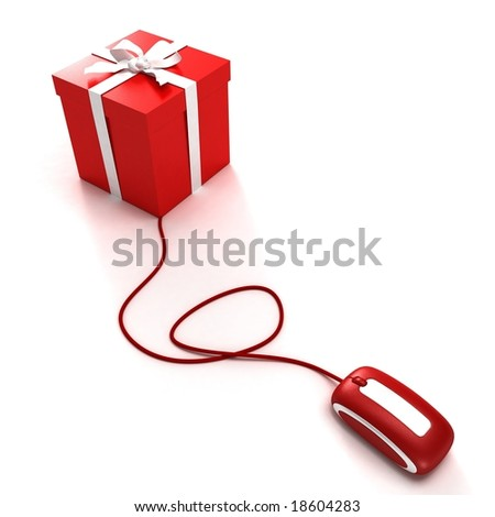 3D rendering of a gift box connected to a computer mouse
