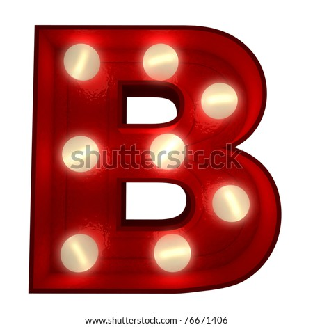 3D rendering of a glowing letter B ideal for show business signs