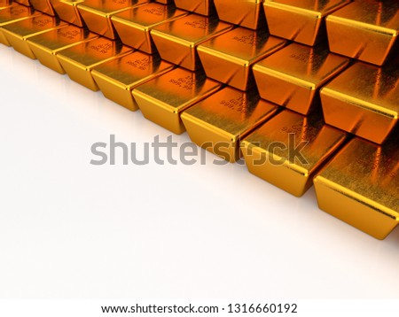 3D rendering of a gold bars that are stacked on top of one another on the light background