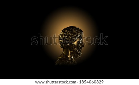 3d rendering of a golden and silver metal stoic bust illustration with strong reference to stoicism and philosophy on a clean and isolated background Stock photo ©