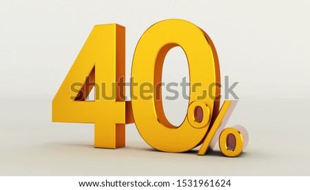 3D rendering of a golden forty percent on a white background. Sale of special offers. Discount with the price is 40%.