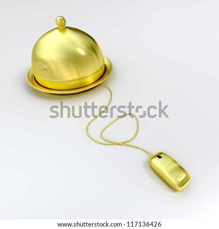 3D rendering of a golden plate covered with a cloche lid, connected to a computer mouse