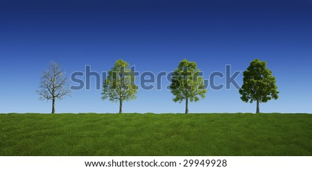 3d rendering of a green field with trees with and without leaves