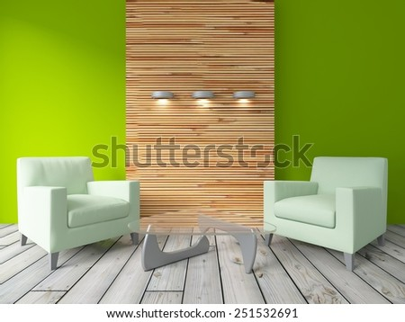 3D rendering of a green interior with green armchairs