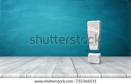 3d rendering of a grey-white exclamation mark made of stone standing on a wooden surface in front of blue background. Best answer. Obvious solution. Attract attention.