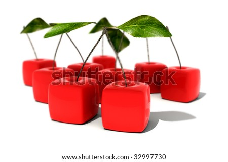 3D rendering of a group of cubic cherries