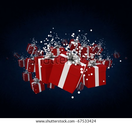 3D rendering of a group of presents with snow drops