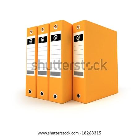 3D-rendering of a group of ring binders in orange
