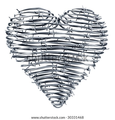 3D rendering of a heart made out of barbed wires