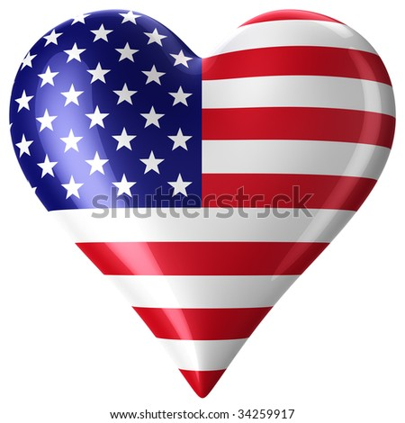 3d rendering of a heart with american flag