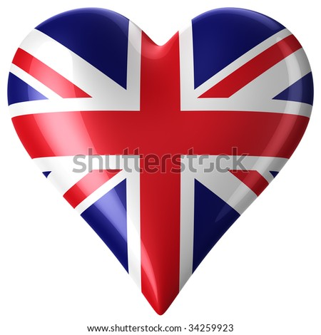 3d rendering of a heart with union jack - stock photo