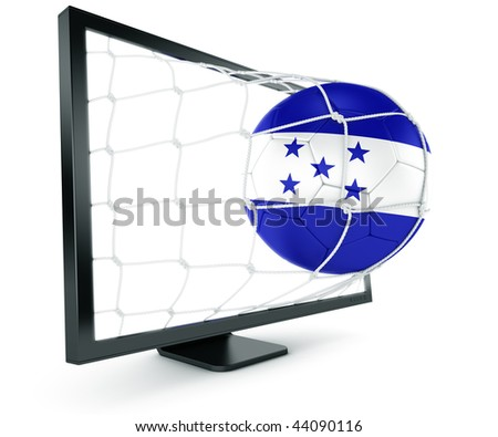 3d rendering of a Honduran soccer ball coming out of a monitor - stock photo