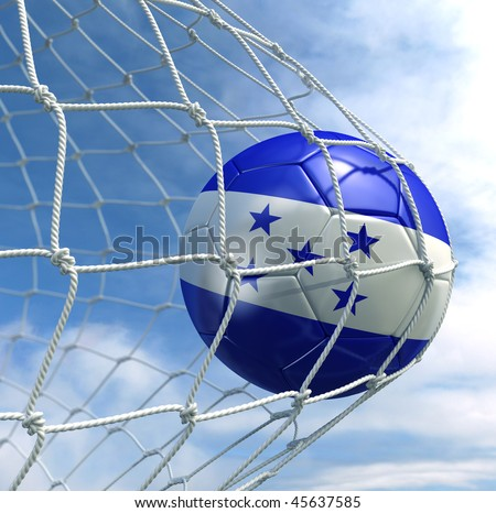 3d rendering of a Honduran soccer ball in a net