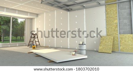 3D rendering of a house interior under renovation works